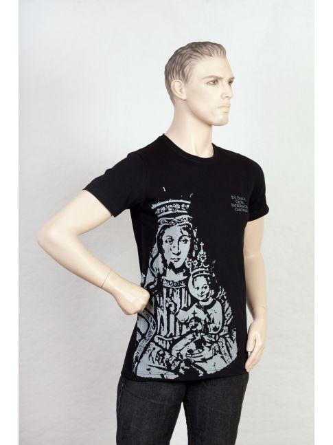 Maglietta con l'immagine della Madonna della Creta stampata sul davanti