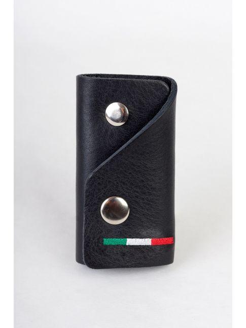 Chaveiro case feito de couro genuíno com uma bandeira italiana bordada