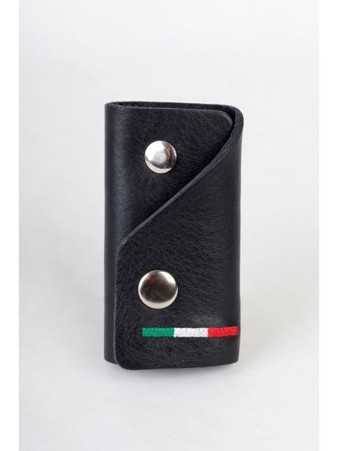 Genuine leather key case with a keychain and a flag embroidered