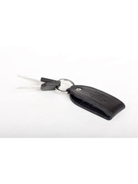Genuine leather keychain with a nameplate