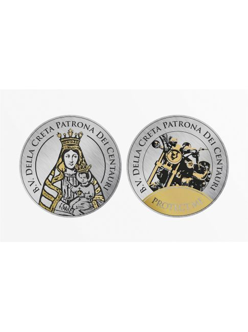 Dos pegatinas plateadas con la Virgen y una motocicleta, 30 mm