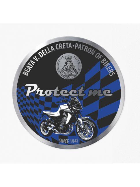 Adesivo rotondo con moticicletta naked nero/azzurro