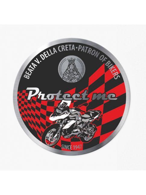 Adesivo rotondo con moticicletta touring nero/rosso
