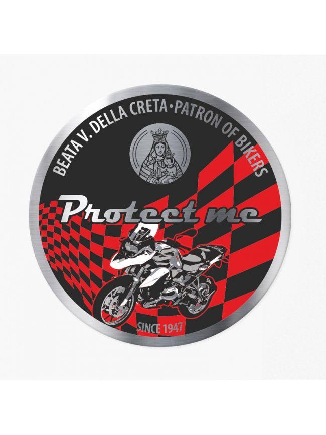 Round sticker with motorbike touring black/red