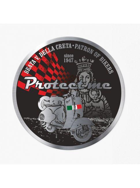Round sticker with motorbike Vespa black/red