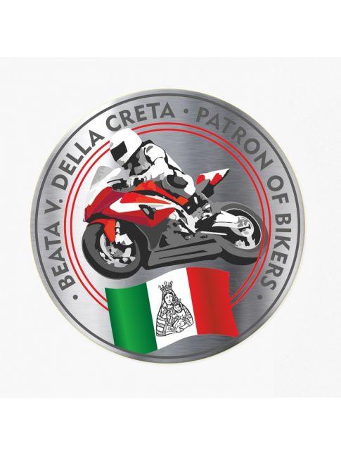 Round sticker with motorbike sport black/red