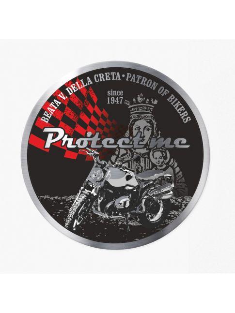 Round sticker with motorbike scrambler black/red