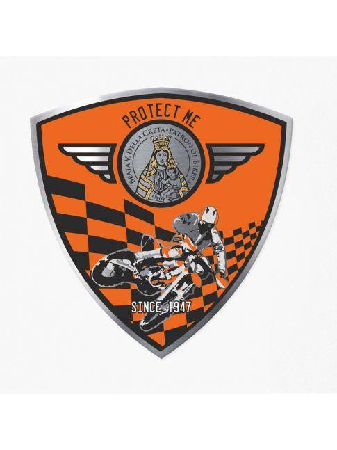 Pegatina triangular motocross negra/naranja