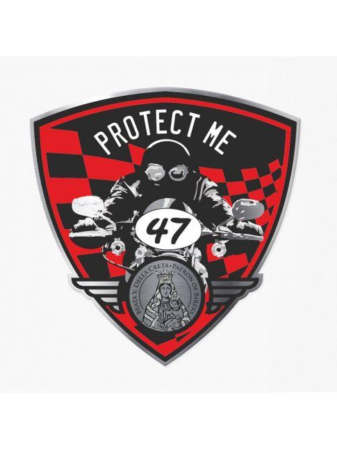 Pegatina triangular con motociclista negra/roja