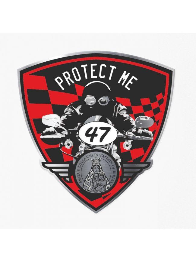 Adesivo triangolare con motociclista nero/rosso