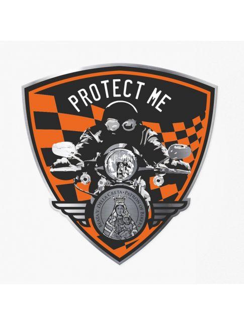 Pegatina triangular con motociclista negra/naranja