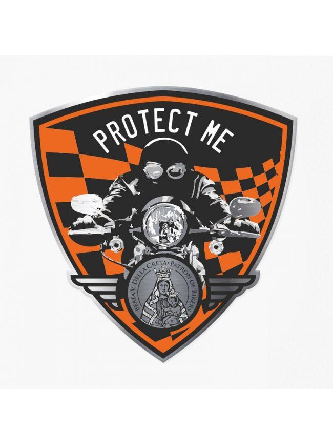 Adesivo triangolare con motociclista nero/arancione