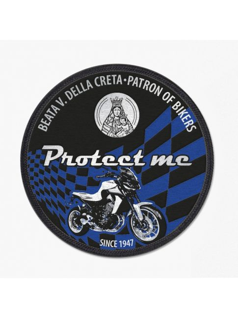 Round patch with motorbike naked black/blue